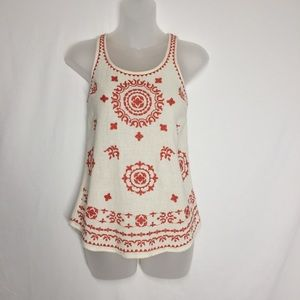 Lucky Brand Red And Cream Embroidered Tank